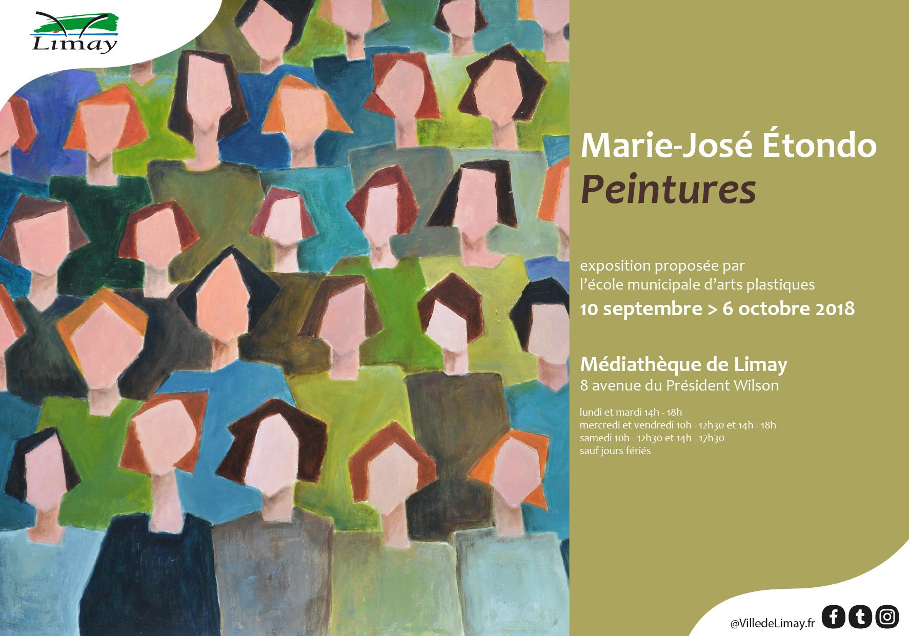 Marie-José Étondo Peintures exposition proposée par l'école municipale d'arts plastiques du 10 septembre au 6 octobre 2018 Médiathèque de Limay